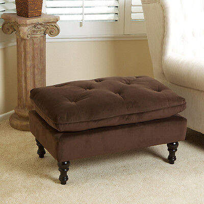 Royal Design Brown Microfiber Ottoman Footstool