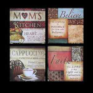 Http Ebay Com Itm French Italian Bistro Framed Kitchen Home Wall Plaque Decor Set Of 4 2 Styles 251360254186