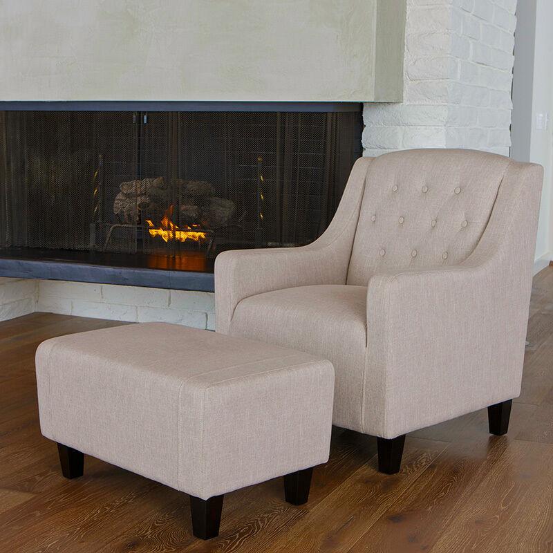 Living Room Furniture Beige Fabric Club Chair & Ottoman Footstool Set on sale