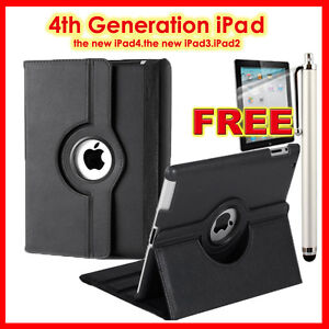 Black 360° Rotate the New iPad 4 generation ipad3/2 Leather Smart Case Cover