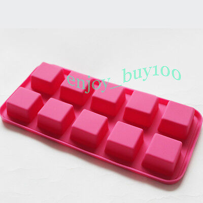 New Square Ice Cube Jelly Chocolate 10-Cavity Tray Mold Silicone Moulds  on Rummage