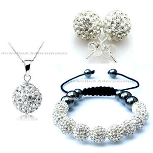 Shamballa Set Matching Bracelet Pendant Earrings 11 Czech Crystal Beads