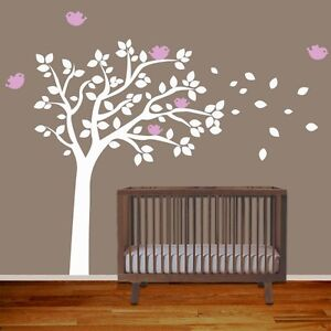 Baby nursery wall decal tree with birds removable vinyl for Baby room tree mural