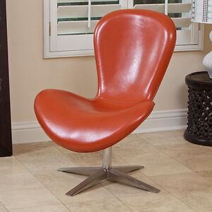 Curvetta Modern Design Orange Faux Leather Accent Chair EBay