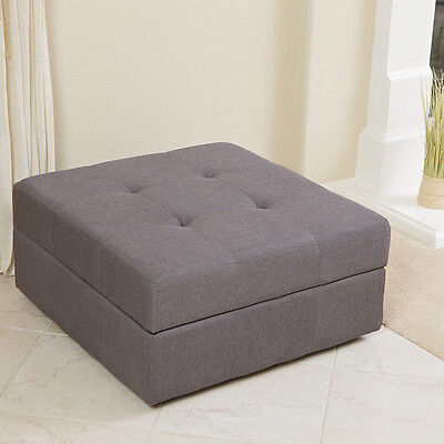 Elegant Spacious Gray Fabric Storage Ottoman Coffee Table With Tufted Top