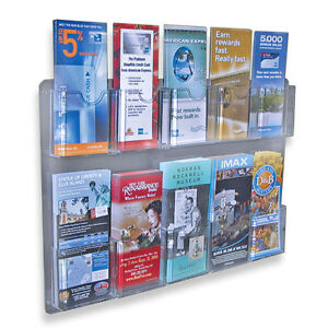 Ten Pocket multi pockets wall mount brochure holder literature rack display