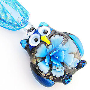 Owl Gold Foil Flower Animals Lampwork Glass Murano Bead Pendant Fashion Necklace