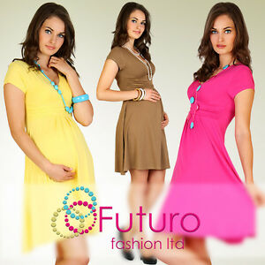 Womens-Maternity-Dress-Tunic-Short-Sleeve-V-Neck-Stretchy-FT875