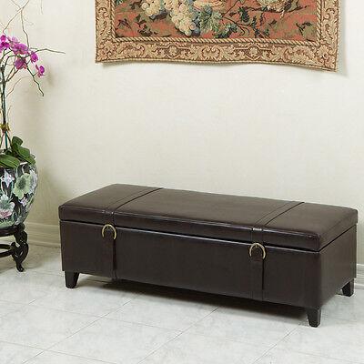 Elegant Espresso Brown Leather Storage Ottoman Bench With Straps