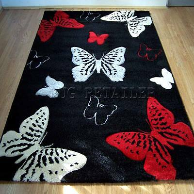 Select Butterfly Black & Red Modern Quality Cheap Wilton Rugs 80x150cm