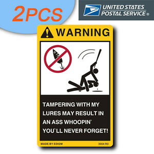 2pcs funny stickers for your fishing lures tackle box for Funny fishing lures