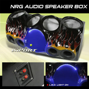 FIBERGLASS-SUBWOOFER-ENCLOSURE-QUAD-10-INCH-SPEAKER-BOX-NRG-AUDIO-JDM-GMC-CHEVY