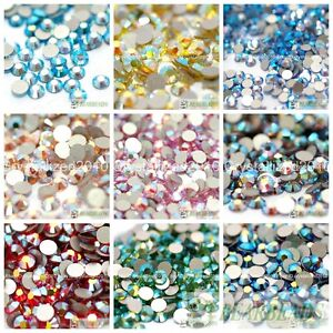 Top-Quality-Czech-Crystal-Rhinestone-Flatback-AB-Color-Nail-Art-Decoration-DIY