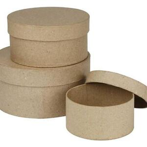 3-Round-Shaped-Boxes-Craft-Storage-Brown-Paper-Mache-Create-Decorate-Hand-Made