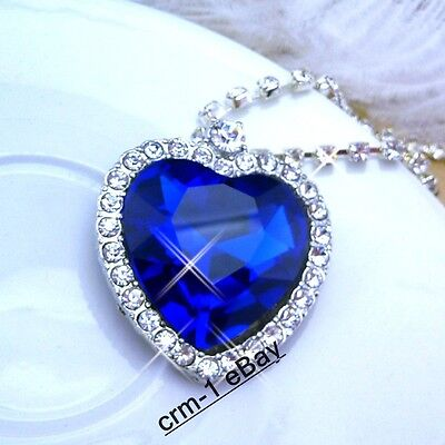 NEW TITANIC HEART OF OCEAN NECKLACE USE BLUE CRYSTAL 3.5cm x 3.5cm on Rummage