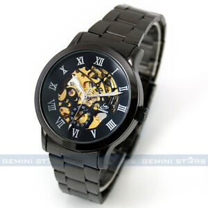Titanium Black Automatic Skeleton Mechanical Mens Watch