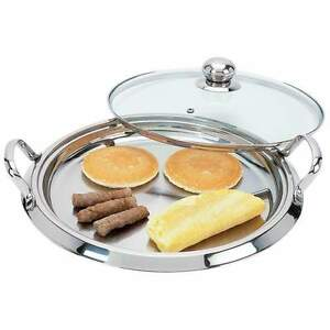 "Chef's Secret 14"", 12-Element High-Quality Stainless Steel Round Griddle w/Lid"