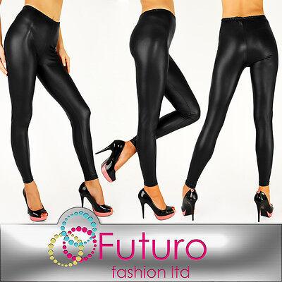 NEW Sexy MAT Wet Look Black Full Ankle Length Leggings All Sizes! HQ