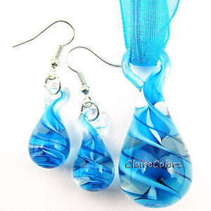 6 Colors Tear Drop Swirl Lampwork Glass Murano Art Pendant Necklace Earrings Set