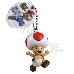 GENUINE-Super-Mario-Bros-3D-LAND-Red-Mushroom-Toad-Figure-Toy-Keyring-Keychain