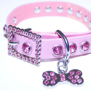 Pink-Leather-Rhinestone-Dog-Collar-w-Bling-Dog-Bone-Charm