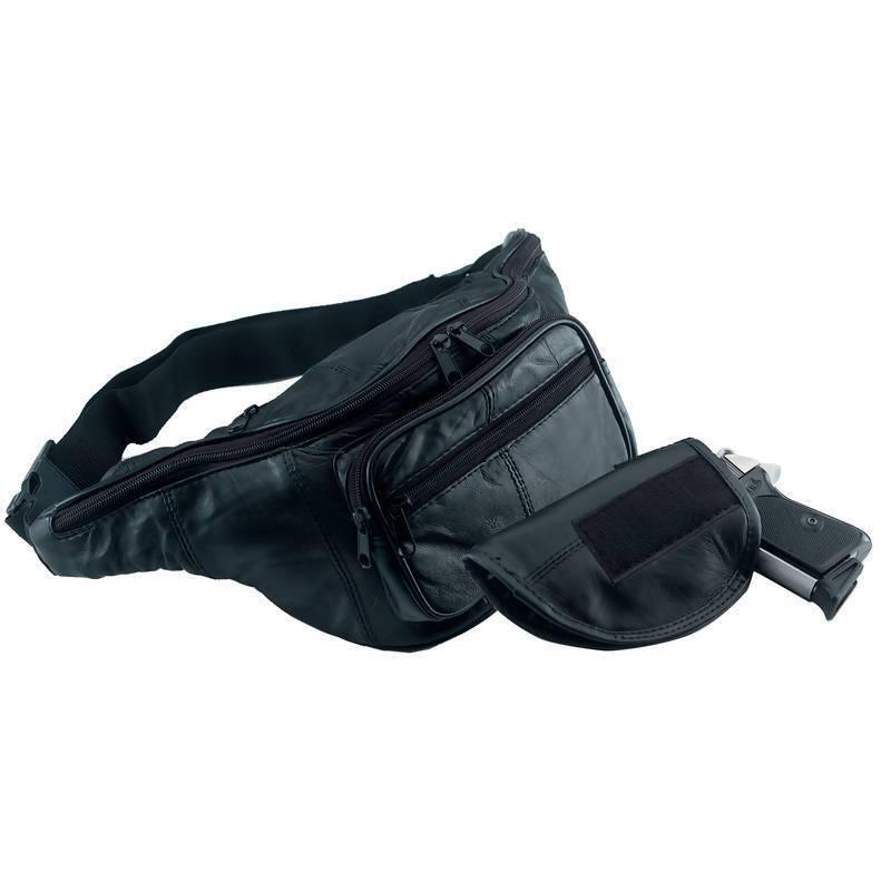 Genuine Leather Gun Fanny Pack Concealment Holder Pistol Holster Waist Gun Bag