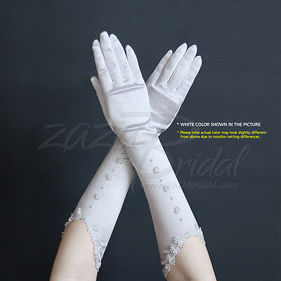 GORGEOUS STRETCH SATIN GLOVES WITH PEARL FLORAL MOTIF AND LACE TRIMMED CUFF
