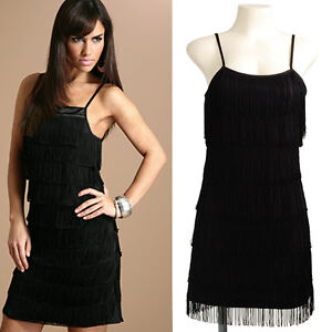 Rare Charleston Fringe Flapper 20s Vtg Cocktail Evening Party Mini Dress S
