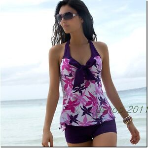 Sexy-Womens-Floral-Bow-Knot-Halter-Tankini-Set-Swimsuit-Bathing-Suit-SC30221
