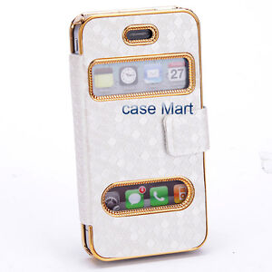 Elegant Designer Luxury White Leather Flip Case Cover Pouch for iPhone 4S 4 4G