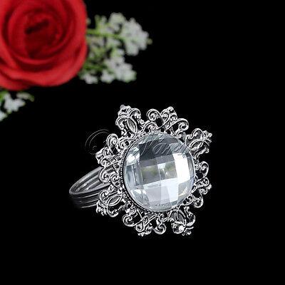 12 White Diamond Napkin Ring Serviette Holder ...