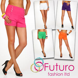 Elegant-High-Waist-Womens-Shorts-Trousers-Multicolours-Girls-Sizes-UK-8-16-PA08