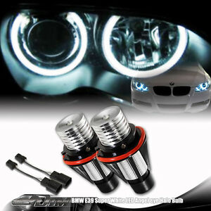 2x-2001-2007-BMW-5-Series-E39-E60-E61-6w-7000k-White-LED-Halo-Angel-Eye-Bulbs