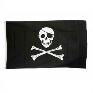 SKULL & CROSSBONE PIRATE JOLLY ROGER LARGE FLAG 5X3FT 5'X3' EYELETS FOR HANGING