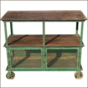 reclaimed wood console iron metal 3 tier industrial factory rolling wheel cart ebay. Black Bedroom Furniture Sets. Home Design Ideas