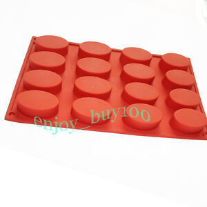 Silicone Mold 16 Oval Cavity Soap Cake Chocolate Baking Jelly Maker Tray