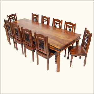 Rustic large dining table chairs set for 10 seat people for 10 seater solid oak dining table