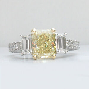 3.63 ct GIA fancy intense yellow natural radiant diamond antique ring platinum