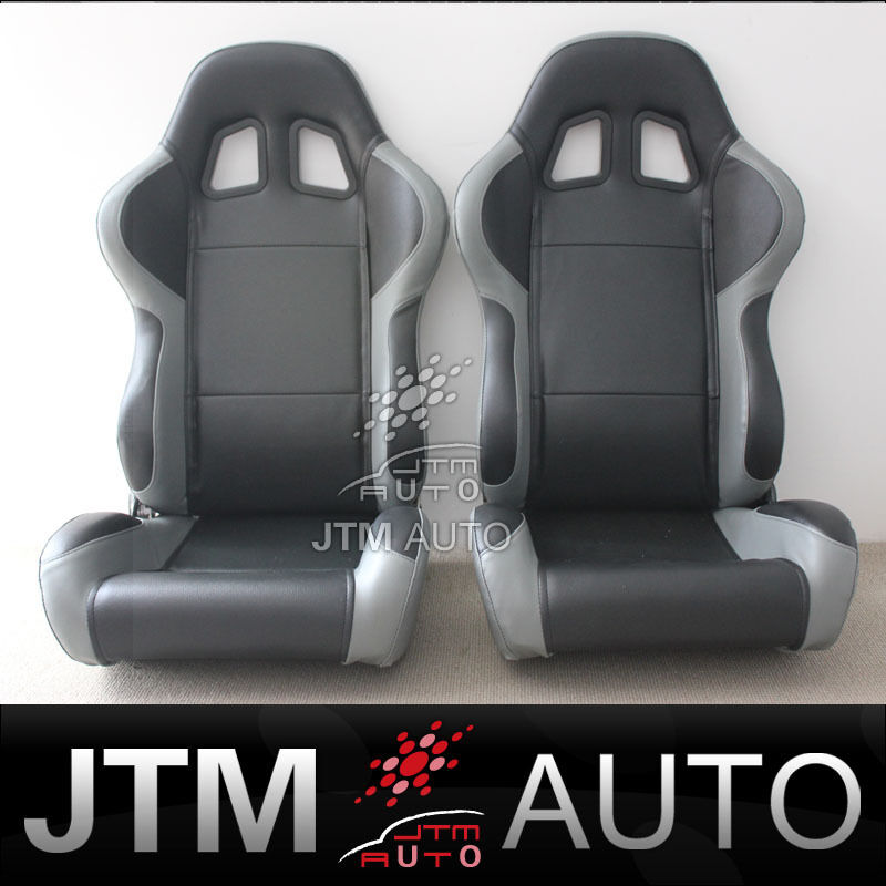 BN TWO BLACK AND GREY PU LEATHER ADJUSTABLE RACING SPORT SEATS
