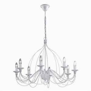 Lampadario a 8 luci in ferro battuto bianco antico for Mercatone uno lampadari ventilatori