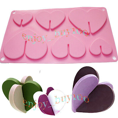 Sweet 3D Chocolate Hearts Cookies Candy Pan Party Gift Maker Silicone Mold    on Rummage