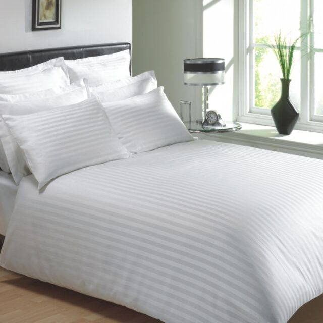 """EGYPTIAN COTTON 400 THREAD CLASSIC STRIPE WHITE DOUBLE 12"""" DEEP FITTED SHEET"""