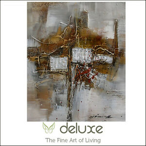 Modern Abstract Hand Painted Oil Painting Canvas Metal Elements, Framed Wall Art