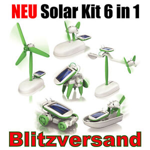 Solar Kit 6 in 1 Bausatz Roboter Auto Boot Windrad NEU