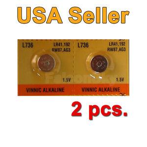 2 NEW AG3 L736 LR41 192 RW87 D192 SG3 392 SR41W SB-B1 Battery