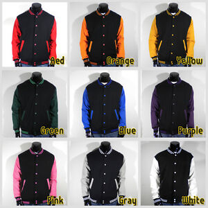 Mens-New-Varsity-Letterman-Black-Baseball-Jacket-S-M-L-XL-2XL-3XL-4XL-Unisex