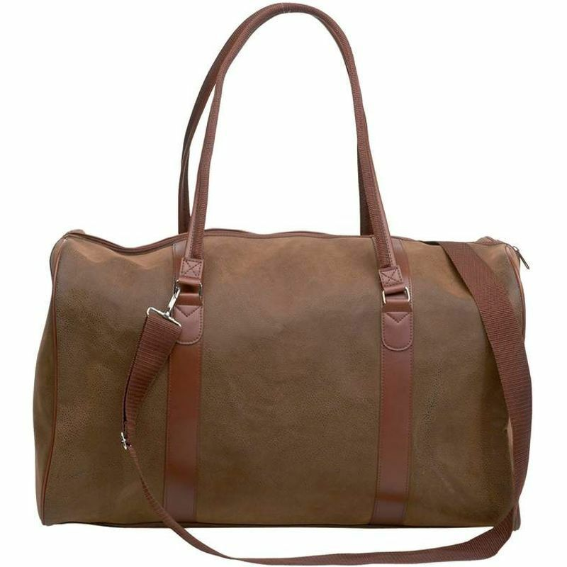 Brown 21 Faux Leather Duffle Bag, Womens Travel Luggage Overnight Suitcase Tote