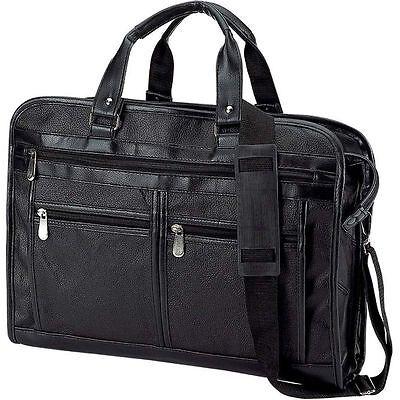 Black Solid Genuine Leather Briefcase, Mens Shoulder Messenger Portfolio Bag