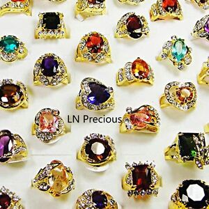 wholesale-jewelry-lots-10pcs-Rhinestone-Cubic-Zirconia-Gold-rings-free-shipping