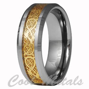 Dragon-Tungsten-Carbide-Celtic-Ring-Mens-Jewelry-Wedding-Band-Gold-New-7-15
